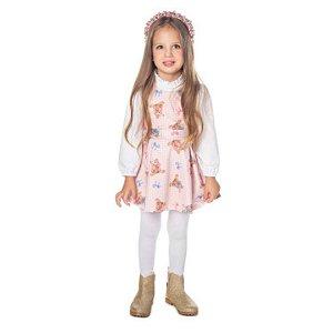 Vestido Infantil Ursos com Blusa Gola Alta Babado - Have Fun 23870