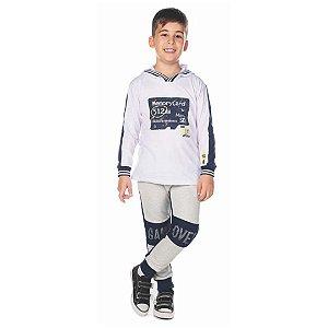 Conjunto Infantil Camiseta de Malha com Capuz e Calça de Moletom - Have Fun 24128