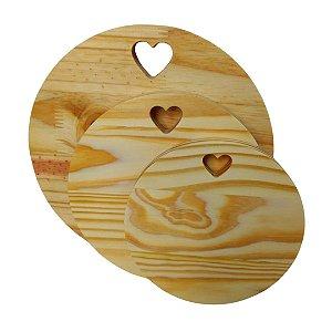 Trio redondo em madeira pinus mesa posta
