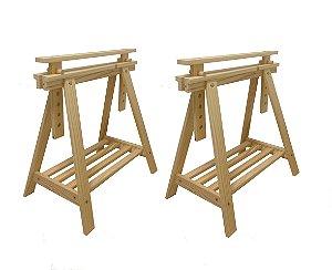 Cavalete decorativo em madeira regulável com prateleira - 2 und