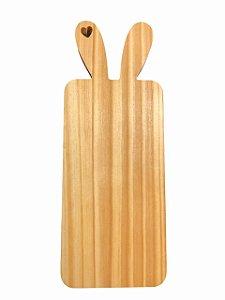Tábua Decorativa Petisqueira Coelho Da Páscoa Pinus Para Mesa Posta - 39cm