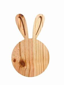 Tábua Decorativa Petisqueira Coelho Da Páscoa Pinus Para Mesa Posta - 22cm