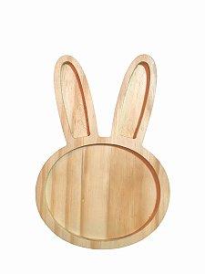Prato infantil de coelho da páscoa em madeira -   P 15x22cm