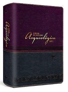 Bíblia de Estudo Arqueológica NVI - Capa luxo - Vinho e Cinza