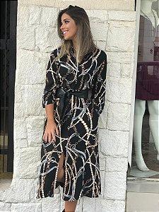Vestido Midi estampa de corrente 46