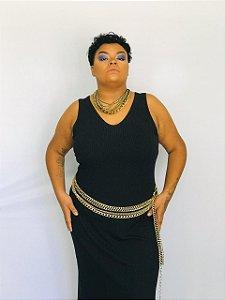 Vestido básico preto malha canelada