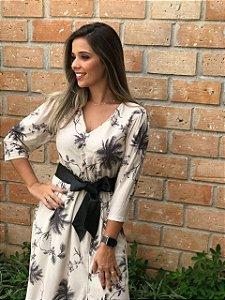 Vestido crepe com cinto