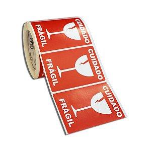 Etiqueta Frágil 100x70mm Couché adesivo borracha para caixa de papelão embalagem