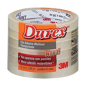 Fita adesiva polipropileno 12mmx50m Transparente Durex 3M - Pacote 6 rolos