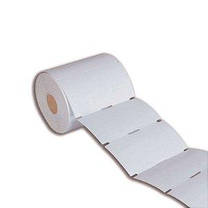 Etiqueta tag roupa 35x60mm (3 colunas saída picote) Couché cartão para Zebra Argox Elgin - Rolo com 1500 (30m)