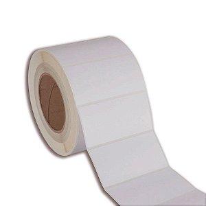 Etiqueta 100x70mm em Couché adesivo para impressora térmica industrial - Rolo com 822 (60m) Tubete 3 polegadas