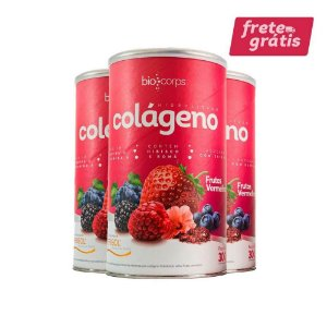 3 potes - Colágeno Hidrolisado Verisol Biocorps 300g sabor frutas vermelhas ( kit tratamento 3 meses)