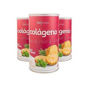 3 potes - Colágeno Hidrolisado Verisol Biocorps 300g sabor abacaxi com hortelã ( kit tratamento 3 meses)