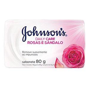 Sabonete Johnson's Daily Care Rosas e Sândalo 80gr Com 12 Unidades