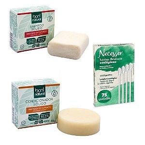 Kit 01 Shampoo + 01 Condicionador Sólido Boni Natural Cupuaçu + Haste Flexível Ecológica Necesser