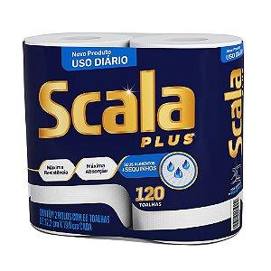 Papel Toalha Scala Plus - Contém 02 Rolos Com 60 Toalhas