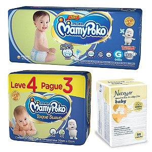 Kit Baby Mamypoko Fralda G + Lenço Umedecido e Quadrados De Algodão Necesser