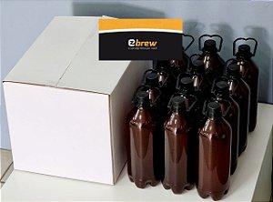 PACK GROWLER PET com 12 garrafas de 1 litro com caixa reutilizável, tampa e alça.