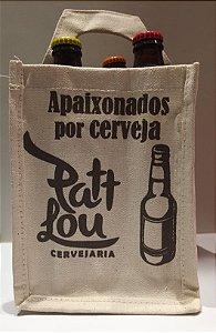 Kit PattLou - Ecobeerbag Exclusiva + 3 cervejas PattLou - 1 Reino da Alegria Saison + 1 4All American Wheat + 1 Mangue Beer Porter