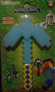 Picareta Minecraft 35cm Com Som e Led