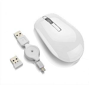 Multilaser Mouse sem Fio Óptico 2.4GHz - Cabo Recarregador - MO188 Branco