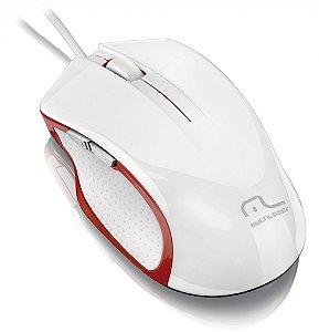 Multilaser Mouse Gamer Laser Alta Performance USB 6 Botões MO202 Branco/ Vermelho