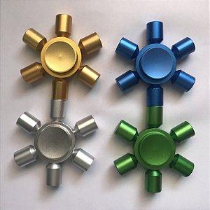 Fidget Hand Spinner Alumínio 6 Pontas Pro
