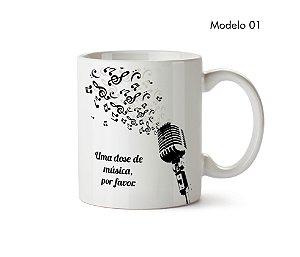 Caneca Uma Dose de Música, Por Favor