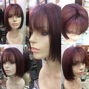 peruca quimioterpaia  cabelo humano chanel castanho acaju