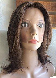 peruca front lace cabelo castanho claro brasileiro cap (m)