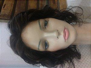 peruca cabelo humano feminina com risca cabelo humano ondulado