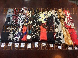 lenços feminino estampado turbante echarpe 5 unidades