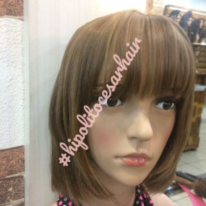 peruca cabelo humano sem quimicas chanel de franja