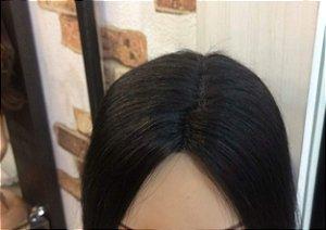 protese capilar de micropele cabelo humano liso castanho escuro 55 cm