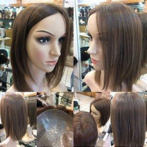 protese capilar feminina micropele cabelo livre quimicas castanho claro