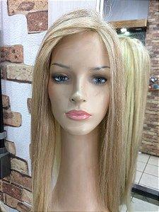 peruca cabeça inteira (base de siliocone ) cabelo loiro remy humano 55 cm