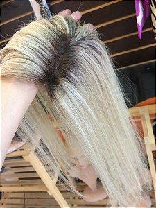 protese capilar de topo cabelo loiro platinado 9x9 cm