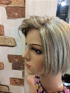 protese de topo cabelo humano loiro platinado;