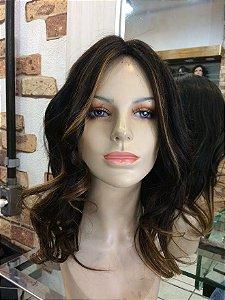 peruca  com silk top cabelo humano brasileiro castnho medio com mechas  cap  (m)
