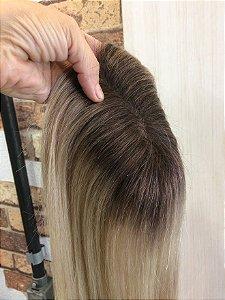 protese capilar de topo feminina LOIRO COM RAIZ ESCURA cabelo humano cabelo 45 cm