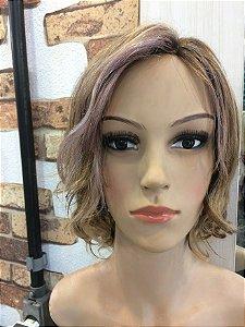 peruca color   com silk top cabelo humano loiro com, mechas