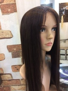peruca front lace cabelo humano longo 60 cm cor castnho natural  cap medio