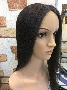 protese de topo  feminina cabelo castanho escuro