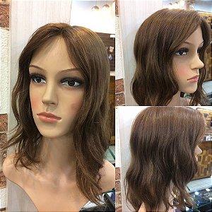 protese capilar feminina micropele cabelo brasileiro  livre quimicas castanho claro