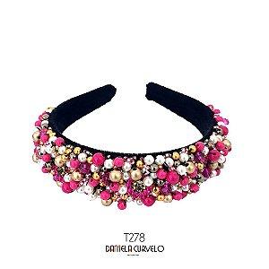 Tiara de Luxo Bordada Larga Preta Rosa Pink e Pérolas T278