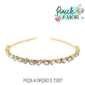 PEÇA 4 OPÇÃO 5 Tiara de Metal Gotinhas Brancas  - T287
