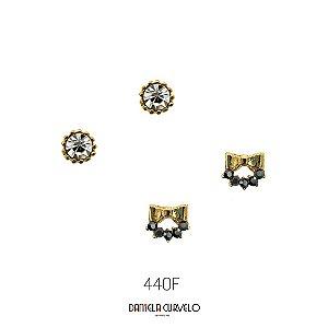 -Kit com 2 brincos Ponto de Luz Branco + Lacinho Hematite - BF440DR