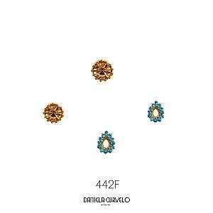 Kit com 2 brincos Ponto de Luz Dourado + Gotinha Azul - BF442DR