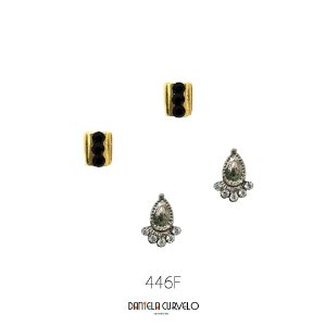 Kit com 2 brincos Pequeno Dourado e Preto +Gotinha com Strass Branco - BF446PO