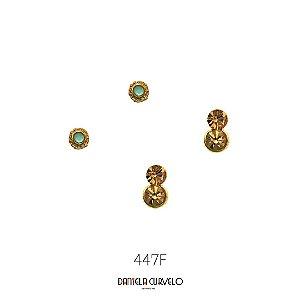 Kit com 2 brincos Pequeno Verde  + Brinco 2 Strass Dourados - BF447DR